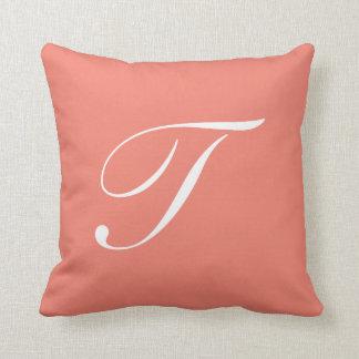 Letter T Coral Monogram Pillow
