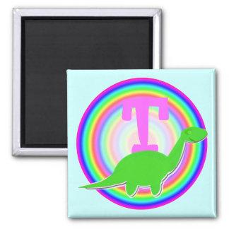 Letter T Green Dinosaur Diplodocus Fridge Magnet