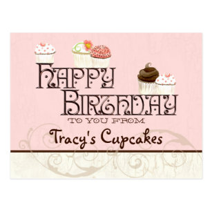 letter t happy birthday cupcake business postcard