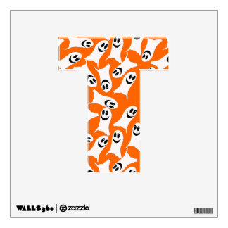 Letter T Initial  - Cute Smiling Ghosts Wall Sticker