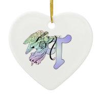 Letter T Initial Monogram Guardian Angel Blue Past Ornaments