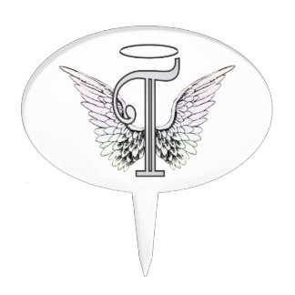 Letter T Initial Monogram with Angel Wings & Halo Cake Topper