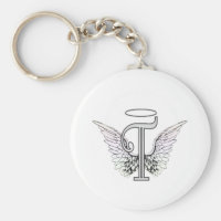 Letter T Initial Monogram with Angel Wings & Halo Basic Round Button Keychain