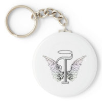 Letter T Initial Monogram with Angel Wings & Halo Key Chain