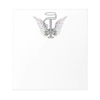 Letter T Initial Monogram with Angel Wings Halo Scratch Pads