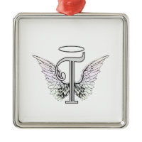 Letter T Initial Monogram with Angel Wings & Halo Christmas Tree Ornaments