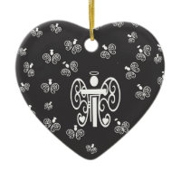 Letter T Initial Monogram with Angels Christmas Tree Ornament