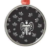 Letter T Initial Monogram with Angels Ornaments