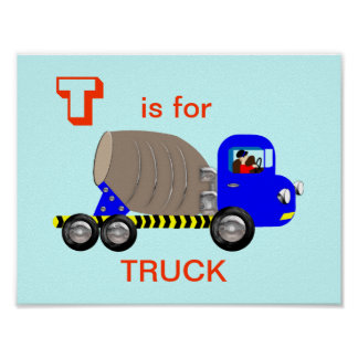 Letter T is for Truck Cute Alphabet Picture Print