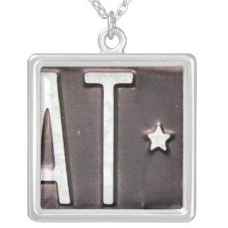 Letter T License Plate Vintage Necklace