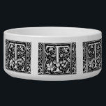 """Letter T Medieval Monogram Vintage Initial Bowl<br><div class=""""desc"""">This initial T is part of a complete series of upper case William Morris inspired typography initials.</div>"""