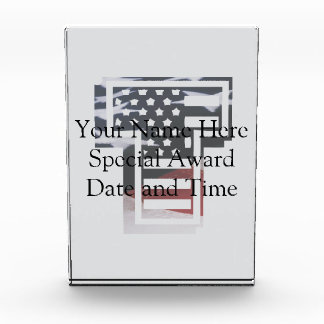 Letter T Monogram Initial Patriotic USA Flag Award