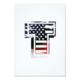 Letter T Monogram Initial Patriotic USA Flag Card