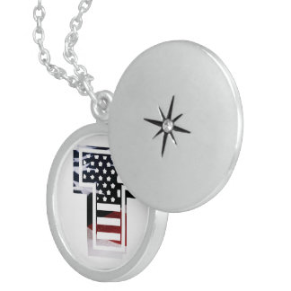 Letter T Monogram Initial Patriotic USA Flag Sterling Silver Necklace