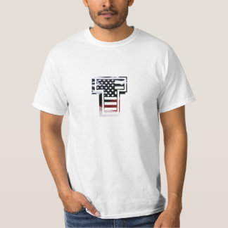 Letter T Monogram Initial Patriotic USA Flag T-Shirt