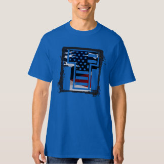Letter T Monogram Initial Patriotic USA Flag T-Shirt