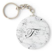 Letter T monogram Marble texture Keychain