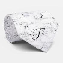 Letter T monogram Marble texture Neck Tie