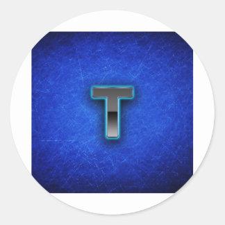 Letter T - neon blue edition Classic Round Sticker