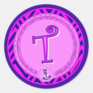 Letter 'T' Pink Nautical Chevron w/ Anchor  - Classic Round Sticker