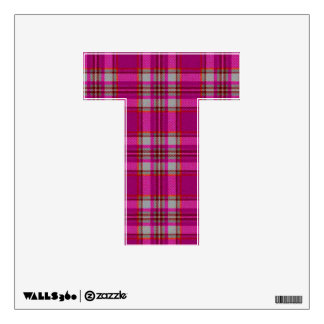 letter T punk emo rock retro vintage tartan plaid Wall Decal