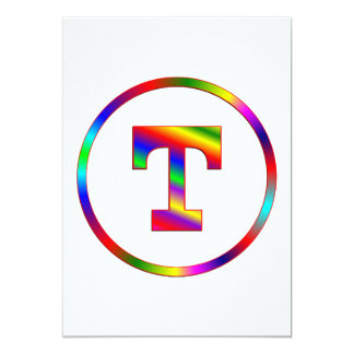 Letter T Rainbow Personalized Announcement