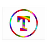 Letter T Rainbow Post Cards
