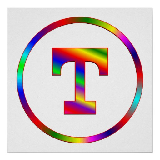 Letter T Rainbow Poster