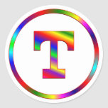 Letter T Rainbow Stickers