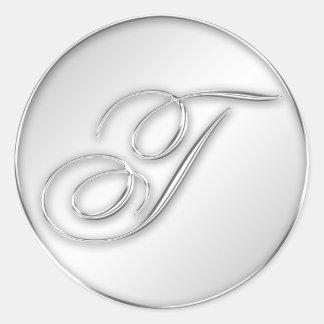 Letter T script initial faux silver monogram favor Classic Round Sticker