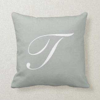 Letter T Silver Gray Monogram Pillow