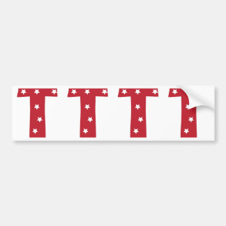 Letter T - White Stars on Dark Red Bumper Sticker