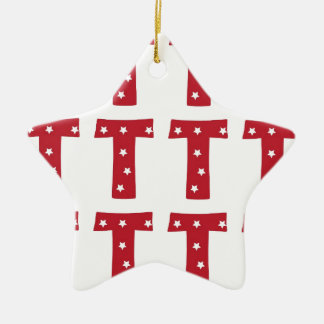 Letter T - White Stars on Dark Red Ceramic Ornament