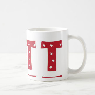 Letter T - White Stars on Dark Red Coffee Mug
