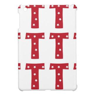Letter T - White Stars on Dark Red iPad Mini Cases