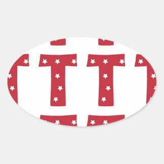 Letter T - White Stars on Dark Red Oval Sticker