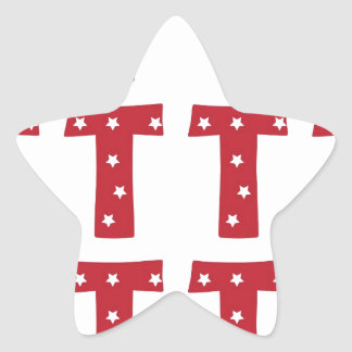 Letter T - White Stars on Dark Red Star Sticker
