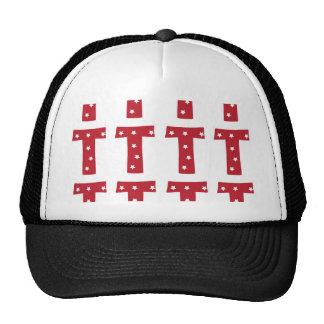 Letter T - White Stars on Dark Red Trucker Hat