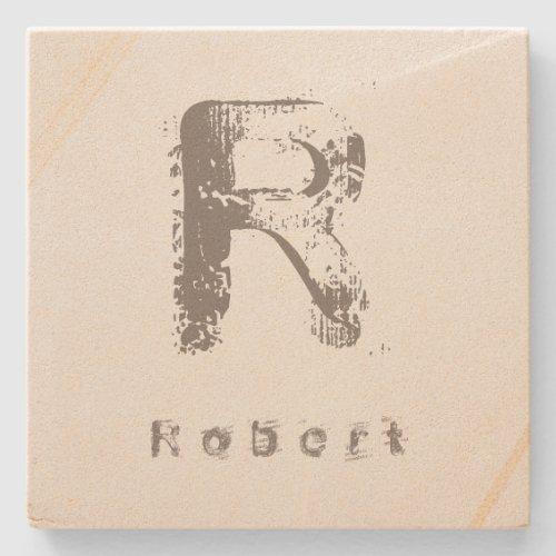 Letter Template Elegant Design Monogram Sandstone Stone Coaster