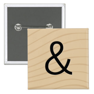 "Letter Tile Game Buttons: Ampersand ""&"" Pinback Button"
