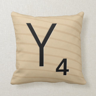 Letter Tile Pillow: Wood Y/Z (13 of 17) Throw Pillow