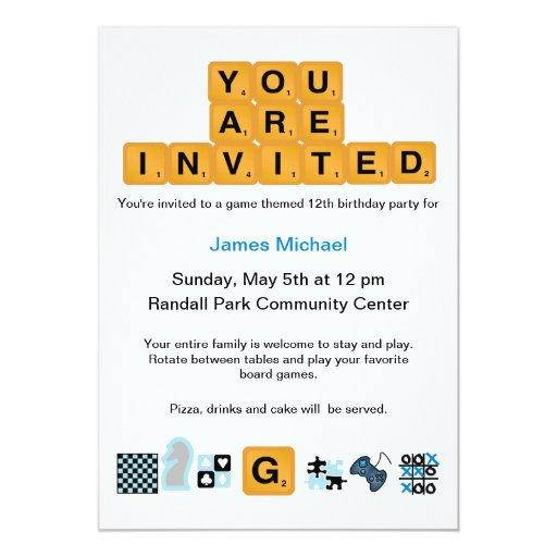 Letter Tiles Blue Birthday Invitation