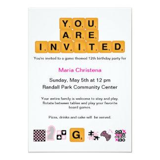 Letter Tiles Pink Birthday Invitation