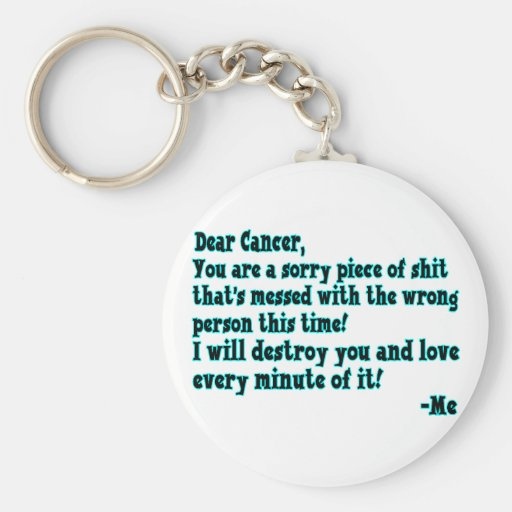 Letter To Cancer Basic Round Button Keychain