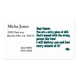 Letter To Cancer Business Card Template