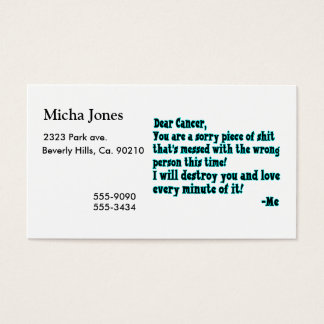 Letter To Cancer Business Card