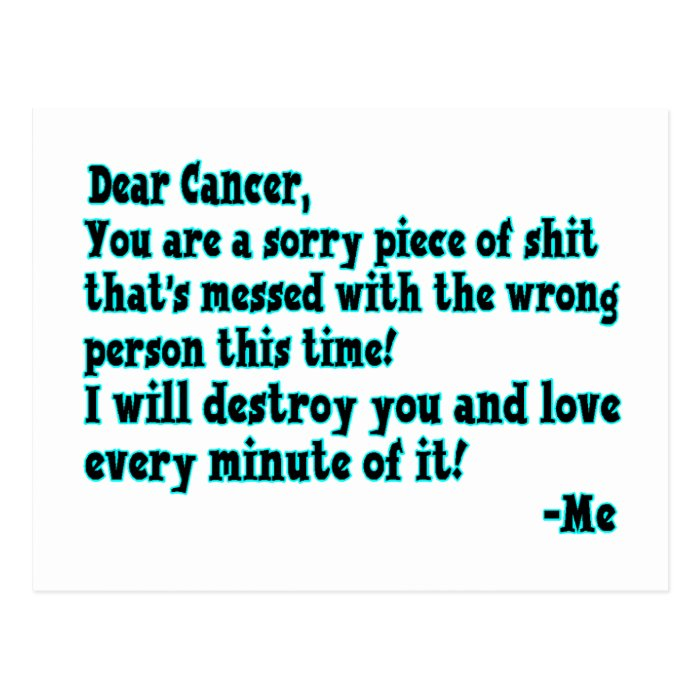 Letter To Cancer Postcard