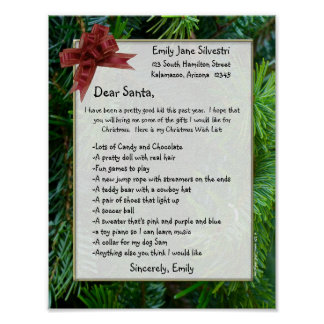 Letter to Santa, Create it Online! Optional Framed Poster