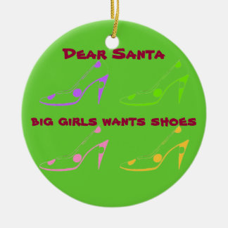 Letter to Santa for Women Who Love Shoes Double-Sided Ceramic Round Christmas Ornament