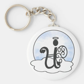Letter U Alphabet Initial Monogram w Angel Clouds Keychain
